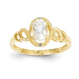 White Topaz Diamond Ring 10k Gold 10XB301
