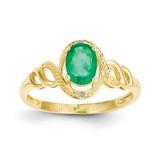 Genuine Emerald Diamond Ring 10k Gold 10XB302