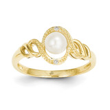 Cultured Pearl Diamond Ring 10k Gold 10XB303