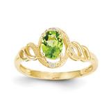 Peridot Diamond Ring 10k Gold 10XB305
