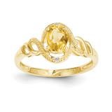 Citrine Diamond Ring 10k Gold 10XB308