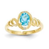 Light Swiss Blue Topaz Diamond Ring 10k Gold 10XB309