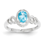 Light Swiss Blue Topaz Diamond Ring 10k White Gold 10XB321