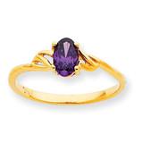 Polished Geniune Amethyst Birthstone Ring 10k Gold 10XBR131