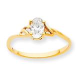 Polished Geniune White Topaz Birthstone Ring 10k Gold 10XBR133