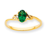 Polished Geniune Emerald Birthstone Ring 10k Gold 10XBR134
