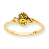 Polished Geniune Peridot Birthstone Ring 10k Gold 10XBR137