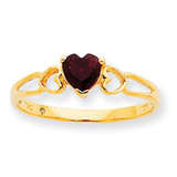Polished Geniune Garnet Birthstone Ring 10k Gold 10XBR154