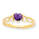Polished Geniune Amethyst Birthstone Ring 10k Gold 10XBR155