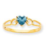 Polished Geniune Aquamarine Birthstone Ring 10k Gold 10XBR156
