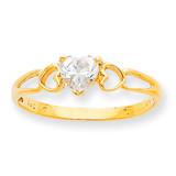 Polished Geniune White Topaz Birthstone Ring 10k Gold 10XBR157
