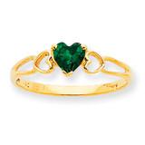 Polished Geniune Emerald Birthstone Ring 10k Gold 10XBR158