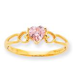 Polished Geniune Pink Tourmaline Birthstone Ring 10k Gold 10XBR163