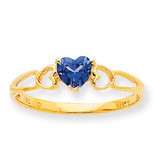 Polished Geniune Blue Topaz Birthstone Ring 10k Gold 10XBR165