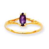 Polished Geniune Amethyst Birthstone Ring 10k Gold 10XBR179