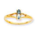 Polished Geniune Aquamarine Birthstone Ring 10k Gold 10XBR180