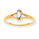 Polished Geniune White Topaz Birthstone Ring 10k Gold 10XBR181