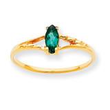 Polished Geniune Emerald Birthstone Ring 10k Gold 10XBR182