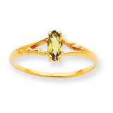 Polished Geniune Peridot Birthstone Ring 10k Gold 10XBR185