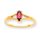 Polished Geniune Pink Tourmaline Birthstone Ring 10k Gold 10XBR187