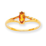 Polished Geniune Citrine Birthstone Ring 10k Gold 10XBR188