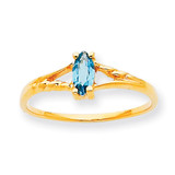 Polished Geniune Blue Topaz Birthstone Ring 10k Gold 10XBR189