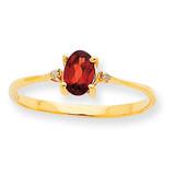 Polished Geniune Diamond & Garnet Birthstone Ring 10k Gold 10XBR202