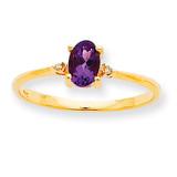 Polished Geniune Diamond & Amethyst Birthstone Ring 10k Gold 10XBR203