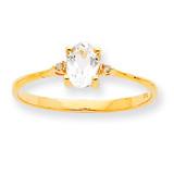 Polished Geniune Diamond & White Topaz Birthstone Ring 10k Gold 10XBR205