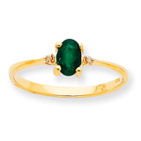 Polished Geniune Diamond & Emerald Birthstone Ring 10k Gold 10XBR206