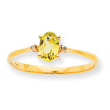 Polished Geniune Diamond & Peridot Birthstone Ring 10k Gold 10XBR209