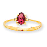 Polished Geniune Diamond & Pink Tourmaline Birthstone Ring 10k Gold 10XBR211