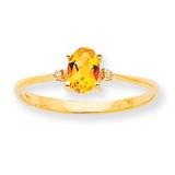 Polished Geniune Diamond & Citrine Birthstone Ring 10k Gold 10XBR212
