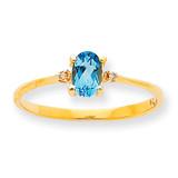 Polished Geniune Diamond & Blue Topaz Birthstone Ring 10k Gold 10XBR213