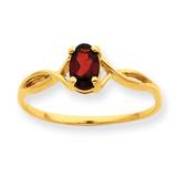 Polished Geniune Garnet Birthstone Ring 10k Gold 10XBR226