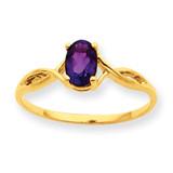 Polished Geniune Amethyst Birthstone Ring 10k Gold 10XBR227