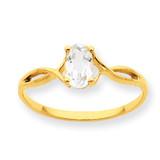 Polished Geniune White Topaz Birthstone Ring 10k Gold 10XBR229
