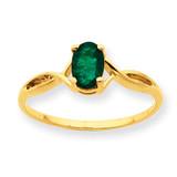 Polished Geniune Emerald Birthstone Ring 10k Gold 10XBR230