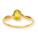 Polished Geniune Peridot Birthstone Ring 10k Gold 10XBR233