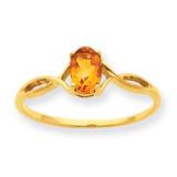 Polished Geniune Citrine Birthstone Ring 10k Gold 10XBR236