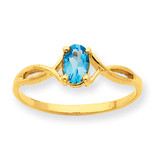 Polished Geniune Blue Topaz Birthstone Ring 10k Gold 10XBR237
