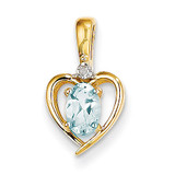 Diamond & Aquamarine Pendant 10k Gold 10XBS492