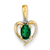 Diamond & Genuine Emerald Pendant 10k Gold 10XBS494