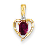 Diamond & Genuine Ruby Pendant 10k Gold 10XBS496