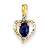 Diamond & Genuine Sapphire Pendant 10k Gold 10XBS508