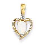 Diamond & Genuine Opal Pendant 10k Gold 10XBS509