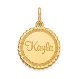 Scalloped Round Disc Nameplate 10k Gold, MPN: 10XNA107Y