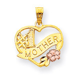 #1 Mother Heart Charm 10k Gold 10YC102