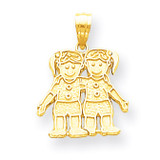 Solid Two Girls Charm 10k Gold 10YC17