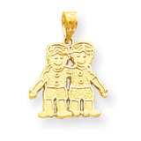 Solid Two Boys Charm 10k Gold 10YC18